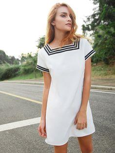 White Striped Trim Short Sleeve Dress With Pockets -SheIn(Sheinside)