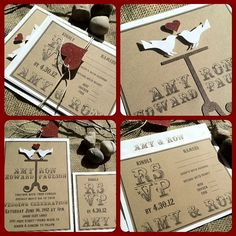Wedding Invitations - Eco Friendly - Love Birds - Rustic -Recycled Kraft - Red and White Modern Wedding Invitations, Wedding Invitation Design, Wedding Stationary, Invitation Cards, Invitation Ideas, Sister Wedding, Dream Wedding, Burlap Lace, Wedding Inspiration