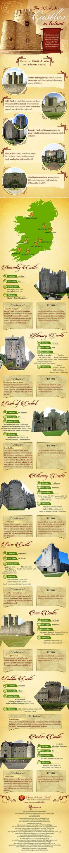 The Must-See Castles of Ireland list - a great infographic with information on visiting Ireland magnificent masterpieces from the past.