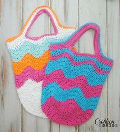 FREE crochet pattern Market Bags in two sizes