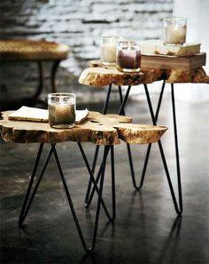 So organic!  Albion Burl Slice Tables  $250