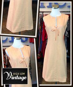 Vintage Peach Linen Dress Shift Sheath FREE by HighLowVintage
