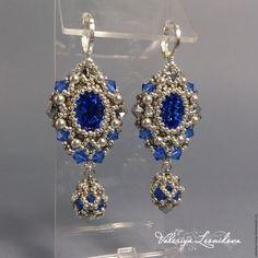 """Купить Серьги """"Сапфир"""" из бисера с кристаллами Сваровски - серебряный, синий, темно синий, серьги из бисера"""