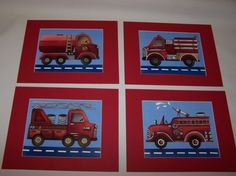 4 red vintage firetruck fireman art prints on by theprincessandpea, $38.00