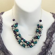 Dark Purple Grey and Teal Necklace Pearl by DaisyBeadzJoaillerie