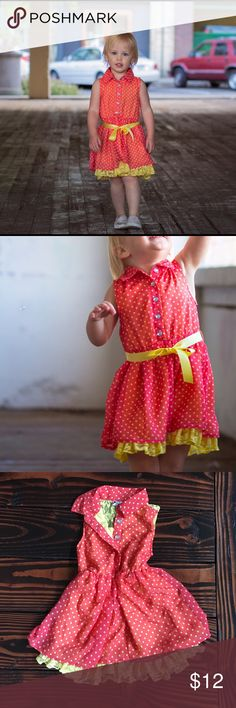 Speechless Sleeveless Dress Pink and yellow, with polka dots. Gem button detail. Only worn once for photos. Excellent condition. Missing the yellow ribbon belt, Speechless Dresses Casual