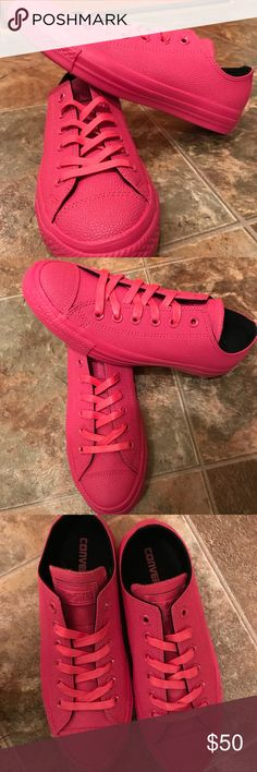 Hot Pink rubber Converse NWOB 🎀 Size 8. Hot pink Converse. These are not the classic canvas ones. They are all rubber!! ❤️❤️ NWOB Converse Shoes Sneakers