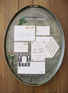 Modern Graphic Print Wedding Invitation | Eric Kelley Photography | Modern Marbled Wedding Inspiration in Earthy Tones of Gray, Yellow, and Amber