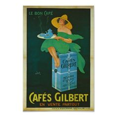 Vintage Retro French Poster, Coffee Advertising Poster