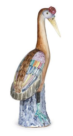 A Chinese Export porcelain polychrome decorated figure of a Crane, Qianlong period.
