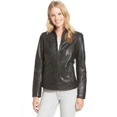 LaMarque Stand Collar Leather Jacket ($300) ❤ liked on Polyvore featuring outerwear, jackets, black, 100 leather jacket, black long sleeve jacket, real leather jacket, zip front jacket and stand up collar leather jacket