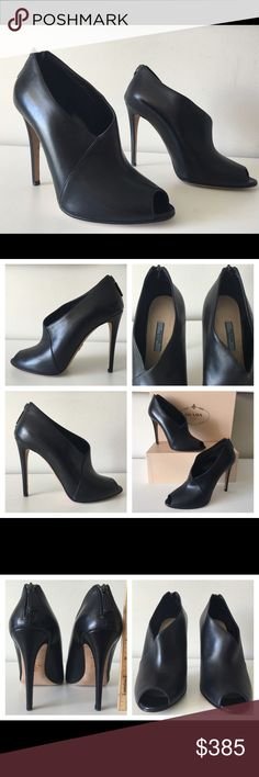 "PRADA PEEP TOE BLACK LEATHER BACK ZIP ANKLE BOOTIE PRADA  -Condition: Brand New With Box + Dust Bag. -Size: EU Size 39. -Color: Black. -Calfskin Leather. -Ankle bootie styled with peep toe. -Approximately 4.25"" (110mm) heel -Asymmetric topline. -Exposed zipper at heel counter, covered thin heel. -Zips at back. -Leather sole with metal logo detail. -Made in Italy. -Retails for $830.00 -Same Day Shipping. Prada Shoes Ankle Boots & Booties"