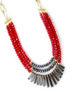 Red Triple Bead Fan Necklace