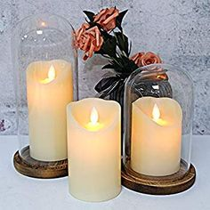 Lavish Home LED Seashell Candles with Remote Control-Set of 2 Nautical Realistic Flameless Color Changing Pillar Lights-Ambient Coastal Home D/écor