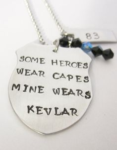 My Hero Necklace- Hand Stamped Necklace-personalized jewelry-police wife/ girlfriend on Etsy, $27.00
