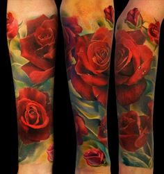 Andrey Barkov Grimmy - Realistic Red Roses Half Sleeve Tattoo