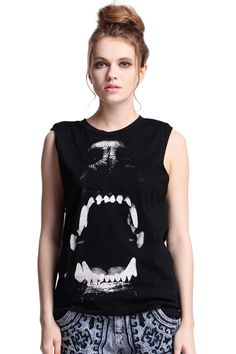 ROMWE | #ROMWE #singlet #muscle  #top #tshirt #tank #dog # teeth #punk #black #streetfashion #womesfashion #summer
