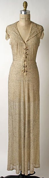Evening dress, 1936. Silk and crystal beads. Designed by Sophie Gimbel, American. Sold in Saks Fifth Avenue.