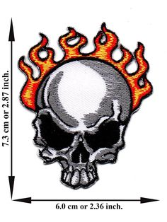 'Skull Flame Skeleton Patch' Iron on Patch 2.87'x2.36' Appliques Hat Cap Polo Backpack Clothing Jacket Shirt DIY Embroidered Iron on / Sew on Patch * Check out the image by visiting the link.