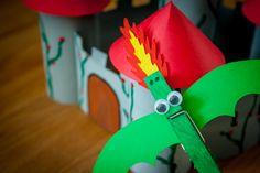 Wäscheklammer Drache für einen Märchen-Kindergeburtstag mit Rittern, Feen und Prinzessinen.