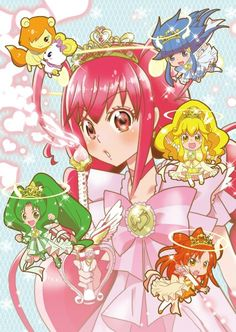 Smile precure, also known as glitter force Glitter Slime, Glitter Force, Sailor Moon Birthday, Glitter Lucky, Hyanna Natsu, Smile Pretty Cure, Cute Little Drawings, Pink Moon, Glitter Ornaments