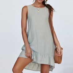 Daily Crop Tops Tshirt Dress Women Casual Denim Bodycon Loose Mini Tank Top Dress ONeck Summer Sleeveless Vestidos Size S Color a Backless Mini Dress, Long Sleeve Mini Dress, Casual Summer Dresses, Casual Dresses For Women, Pretty Summer Dresses, Dress Summer, Summer Clothes, Women's Fashion Dresses, Mini Dresses