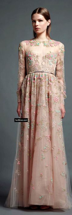 Blush embroidery long sleeve wedding dress design idea // Valentino Pre Spring 2013