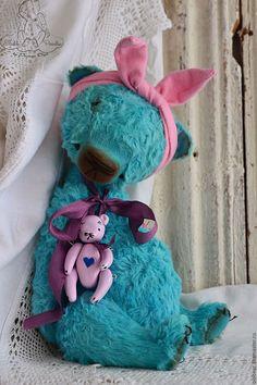Купить Ольга ... - бирюзовый, мишка тедди, мишка ручной работы, мишка тедди винтаж