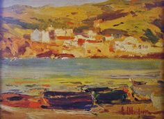 Eliseo Meifrén Roig. Cadaqués, Girona. Óleo sobre tabla. Firmado. 16 x 22 cm. Ausa, 392.