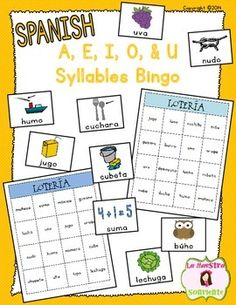 Spanish A, E, I, O, and U Syllables Bingo Game: Students will love practicing their decoding with this fun Loteria game. $