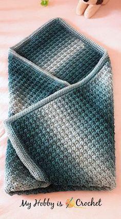 Fabian's Ombre Baby Blanket - Free Crochet Pattern on myhobbyiscrochet.com
