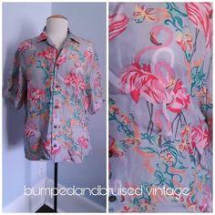 3e77619dc33c RARE Patagonia Pataloha Hawaiian Flamingo shirt