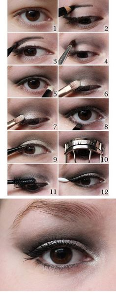 Wanna try a silvery smoky eye? Let this tutorial be your guide. | 13 Makeup Tips Every Person With Hooded Eyes Needs To Know