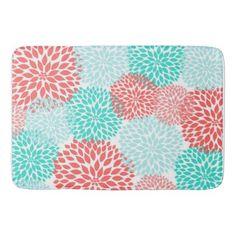 Coral Seafoam Teal Dahlia home decor bath mat - bathroom idea ideas home & living diy cyo bath