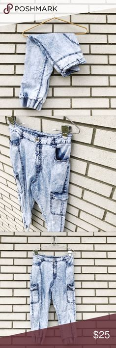 RedFox Acid Wash High Waist Jogger Style Jeans RedFox Acid Wash High Waist Jogger Jeans Elastic at the ankles. Snap cargo pockets on outer thighs. Standard pockets at front hips. Zip fly with button closure. Seaming up front and back of legs. 95% cotton, 5% spandex. Size L. Excellent used condition. **Poshmark won't let me pick Large as a size for jeans, so based on the waist measurement, I have hem listed as a 4. Please consult the measurements below for the best fit.** Measurements  Waist…
