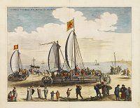 BLAEU, J.,  Currus Veliferi Illmi. Pr. Mauritii Nassouvii. (Prince Maurits' sailing-carriage, designed by Simon Stevin. ), antique map, old maps