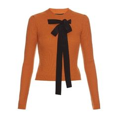 Rochas Bow-front ribbed-knit sweater ($225) ❤ liked on Polyvore featuring tops, sweaters, shirts, orange, rib knit sweater, bow shirt, ribbed knit sweater, embellished top and bow front top