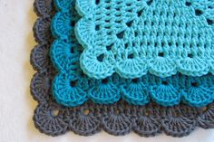 Scalloped Edge Dishcloths  Three Pack by afewlittlebumps on Etsy