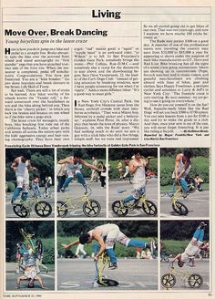 Time magazine article (1986) on the emerging sport of BMX freestyle featuring Kuwahara's Dave Vanderspek!