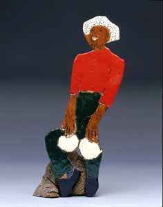 """""""Man Playing Drums"""", 1973, Steve Ashby, incised, painted and assembled wood, 12 1/2 x 4 1/2 x 3 1/8 in. (31.7 x 11.4 x 7.9 cm.), Smithsonian American Art Museum, Gift of Chuck and Jan Rosenak, 1982.114.5"""