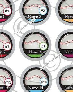 Baseball Team-1 Inch Editable Bottle Cap Images