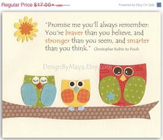 Baby boy, Nursery Art Decor, Kids Print, neutral colors, baby boy print, promise me, winnie the pooh, baby owl, orange, blue, green and red