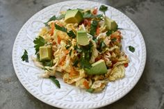 Cabbage and avocado salad with blood orange and coconut vinegar. (Can substitute lettuce if avoiding goitrogens.)
