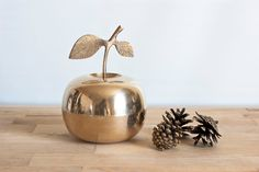 Brass Apple Trinket Box Container, Vintage Home Decor or Tablescape, 5 1/8 inches by TheWildWorld on Etsy
