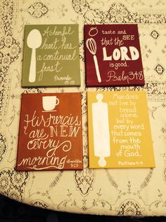Scripture paintings I did for my kitchen! Do small ones