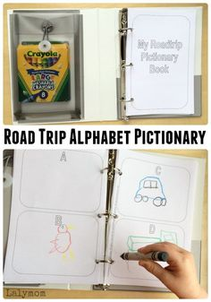 DIY Road Trip Games for Kids. Free Printable Alphabet Pictionary and Other Travel friendly activities! These road trip games are perfect for a family vacation! Airplane Activities, Road Trip Activities, Road Trip Games, Craft Activities For Kids, Road Trip Crafts, Alphabet Activities, Summer Activities, Road Trip With Kids, Santa Cruz