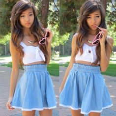 Chicnova Denim Skater Skirt With Lace Trim