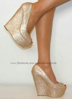 Oh my Ladies Gold Super Glittery Peep Toe Wedge Heels Shoe Sandal Evening Party 3 8 Shoes Heels Wedges, Peep Toe Wedges, Wedge Heels, High Wedges, High Heels, Crazy Shoes, Me Too Shoes, Winter Wedding Shoes, Gold Wedding Shoes