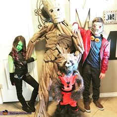 Micah: Micah is wearing Groot costume made from pipe insulation noodles, tissue paper, hot glue and foam flooring squares. I used a dremmel too to sculpt the mask and chest plates....