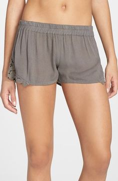 Free shipping and returns on O'Neill 'Elena' Lace Trim Shorts at Nordstrom.com. Peekaboo lace insets the curved hemline to charm loose, crinkled shorts topped by a comfy elasticized waistband.